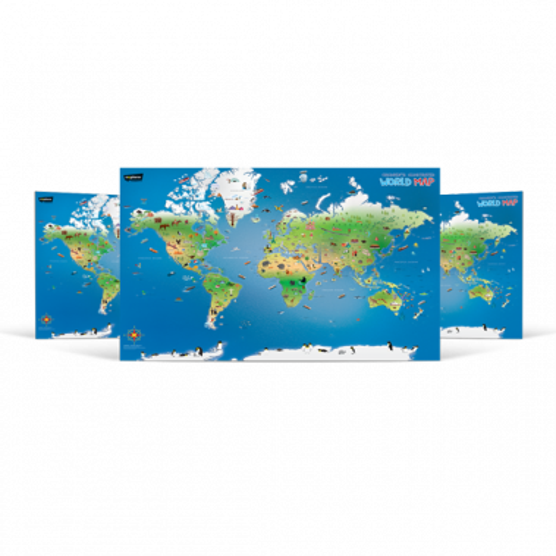 Children Illustrated World Wall Map (English)